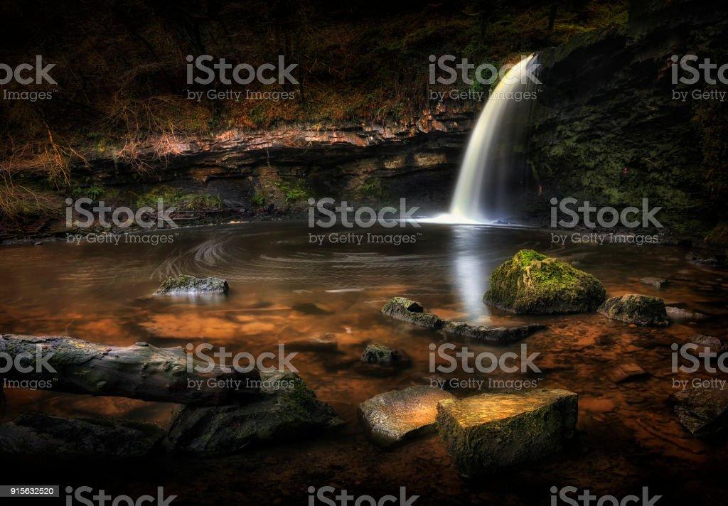 Sgwd Gwladus waterfall at Pontneddfechan stock photo