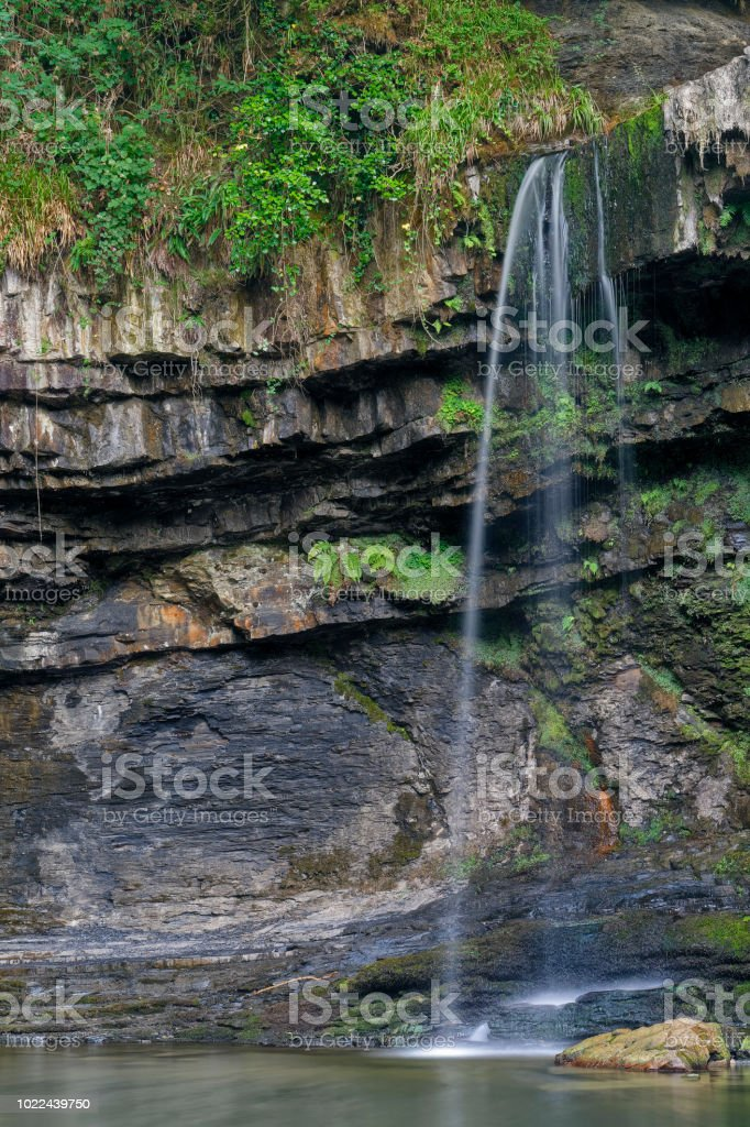 Sgwd Gwladus waterfall, Brecon Beacons National Park, Wales stock photo