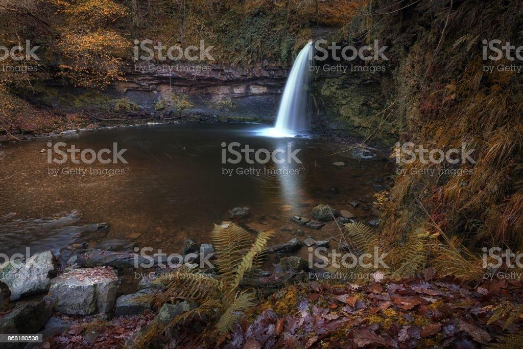 Sgwd Gwladus waterfall Pontneddfechan stock photo
