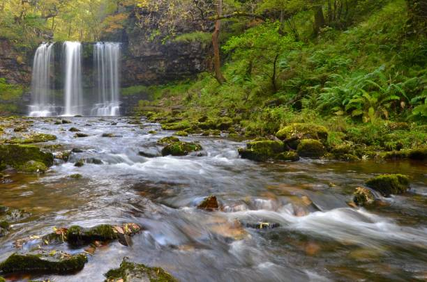 Sgwd yr Eira waterfall Sgwd yr Eira waterfall in the Brecon Beacons National Park, Wales, UK. brecon beacons stock pictures, royalty-free photos & images