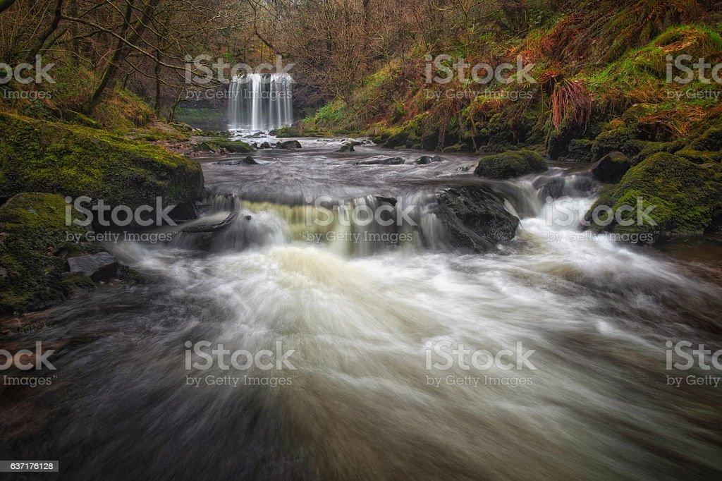 Sgwd yr Eira waterfalls stock photo