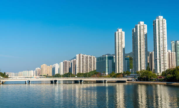 Sha Tin District with the Shing Mun River in Hong Kong, China Sha Tin District with the Shing Mun River in Hong Kong. China sha tin stock pictures, royalty-free photos & images