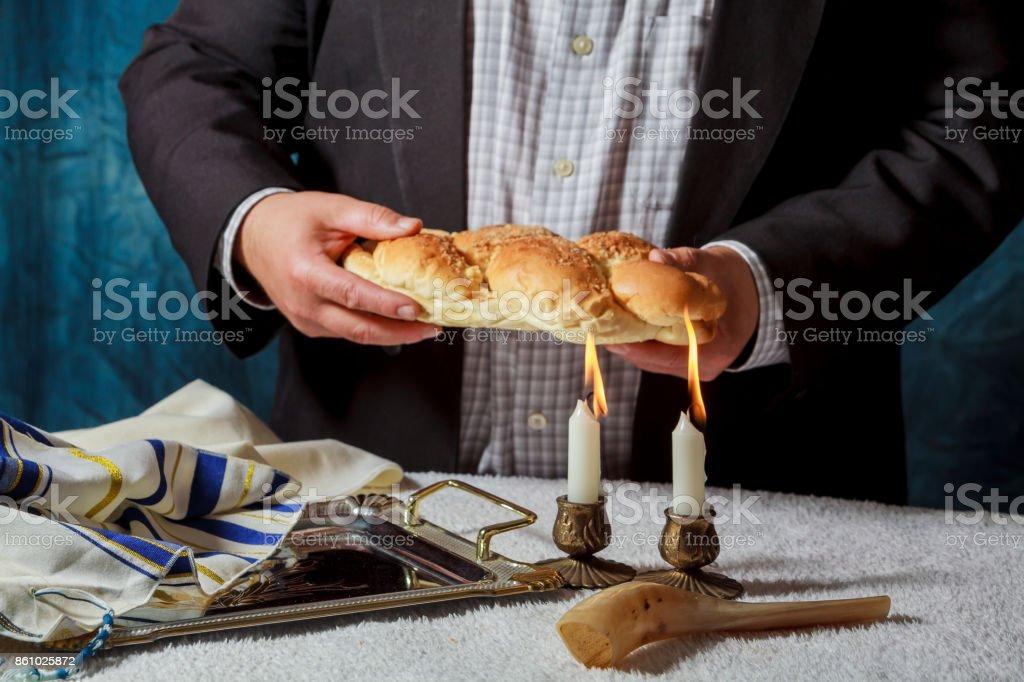 Shabat Hala Candle, jewish bread bakery tradition stock photo