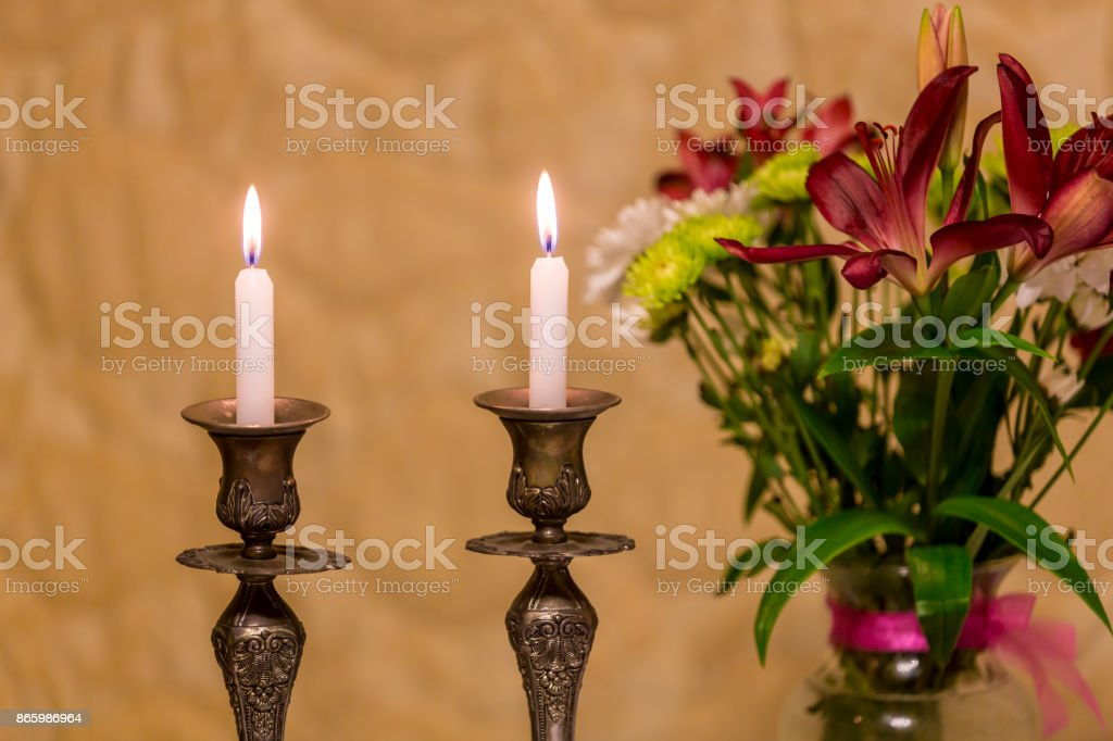 Shabbat candles stock photo