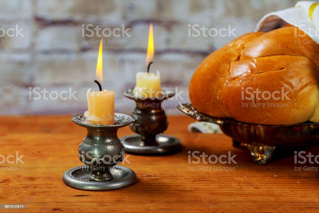 Shabbat Shalom - Traditional Jewish ritual challah bread, stock photo