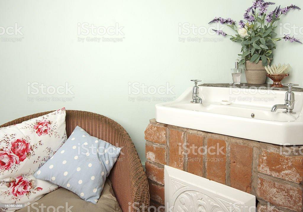 Shabby chic bathroom stock photo