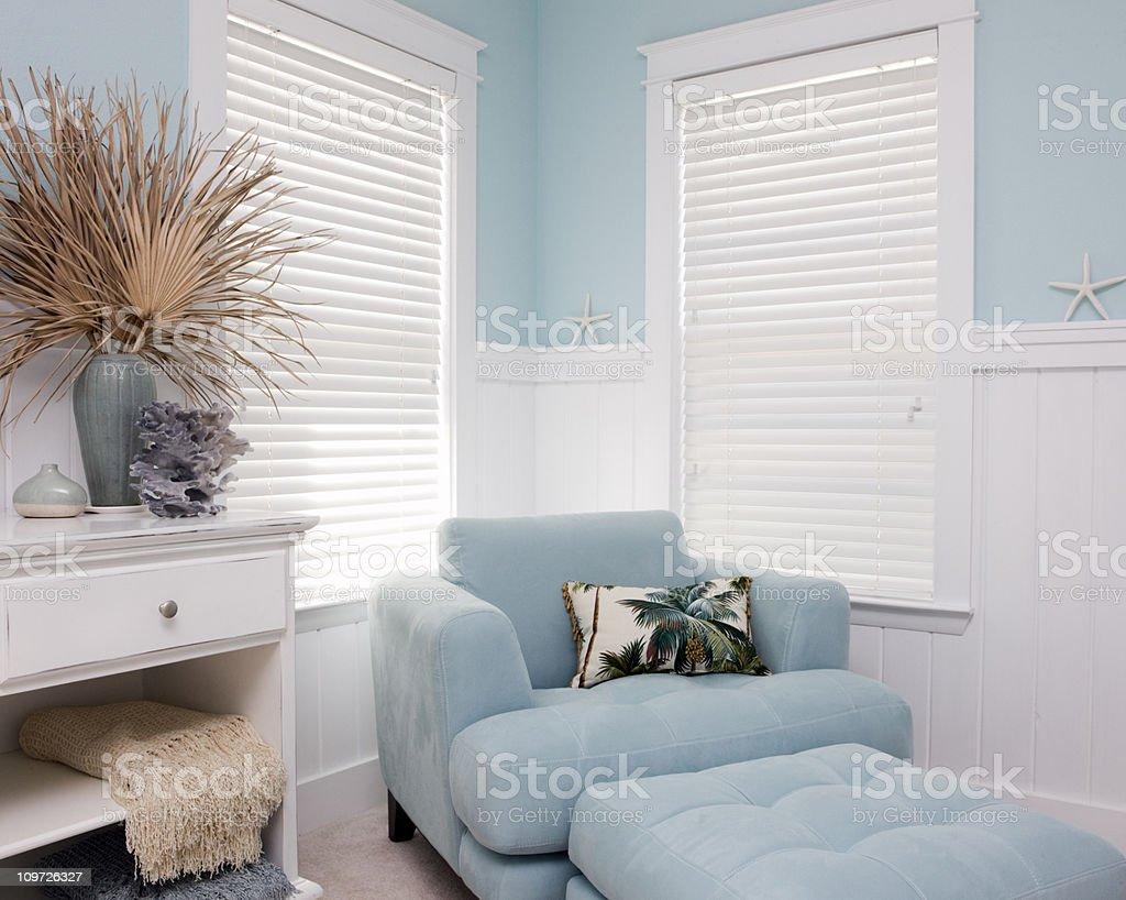 Shabby Chic Interior Decor of Beach House stock photo