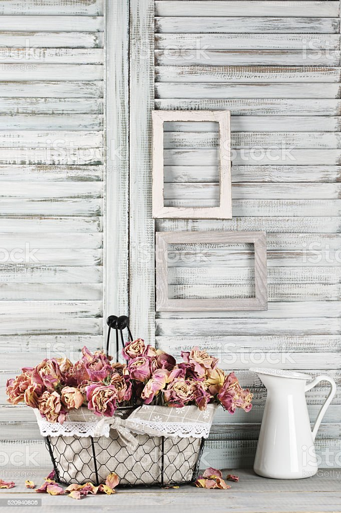 Shabby chic still life stock photo