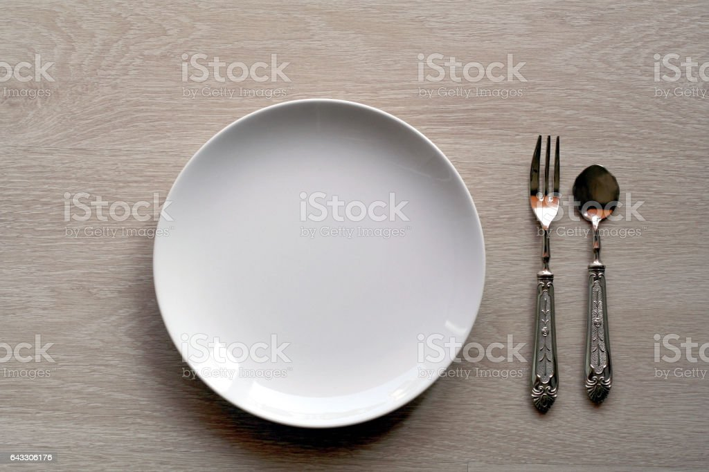 Shabby chic table setting, top view stock photo