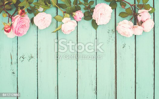 istock Shabby Chic Vintage Background with Roses. 641212880