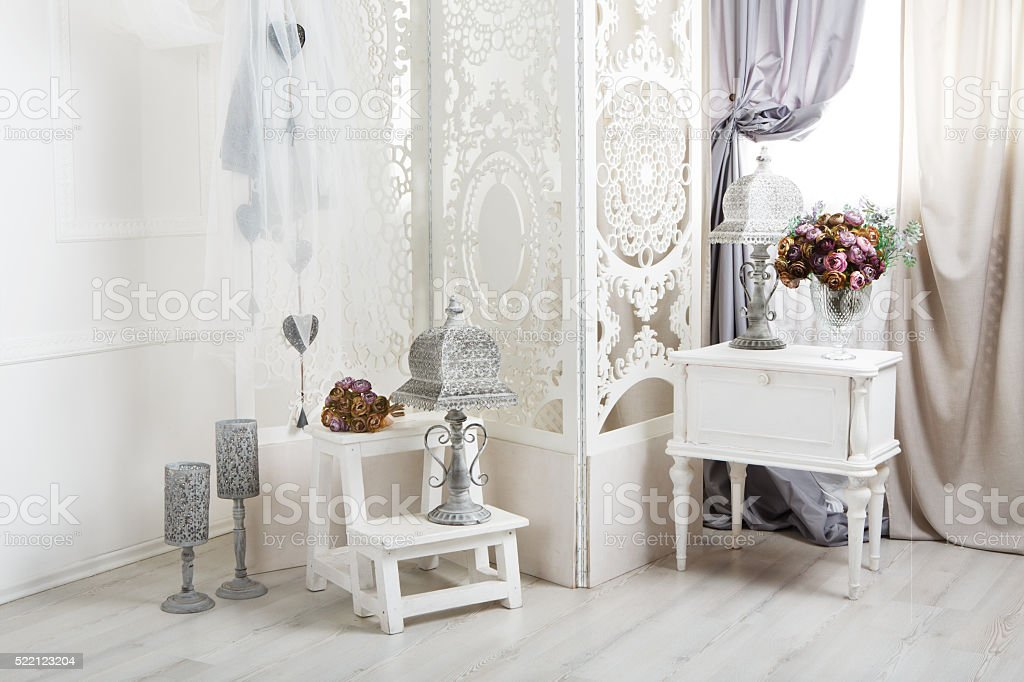 shabby chic white room interior, wedding decor stock photo