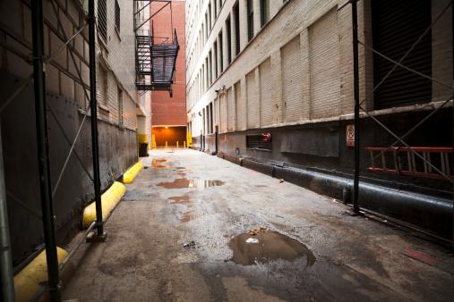 Shabby dark alley in downtown Chicago