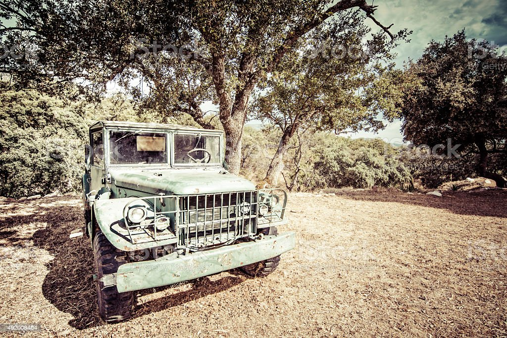 shabby old vehicle abandoned in a forest stock photo