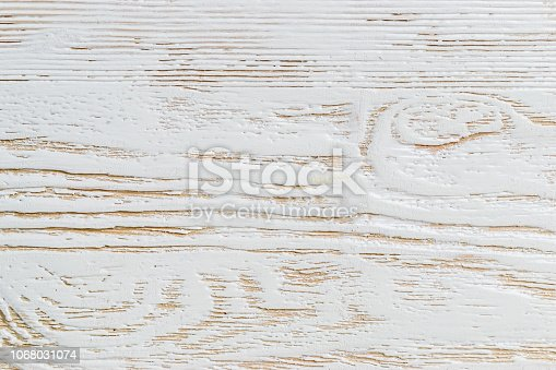 istock Shabby white painted wood texture close-up as background. 1068031074