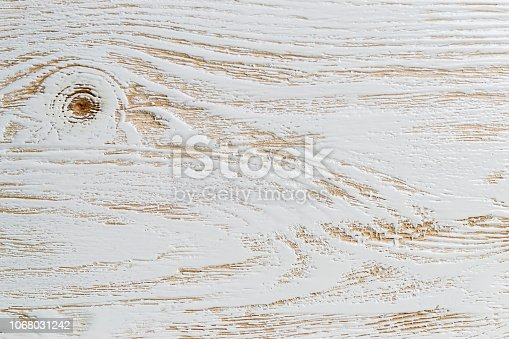 istock Shabby white painted wood texture close-up as background. 1068031242