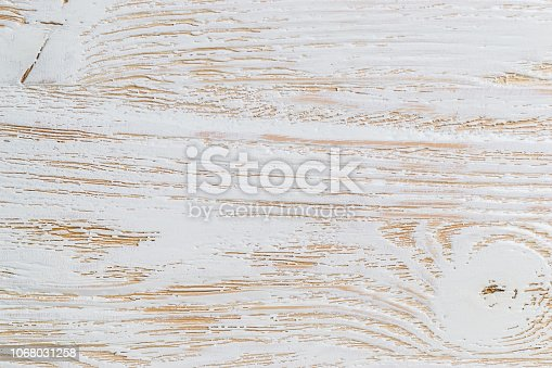 istock Shabby white painted wood texture close-up as background. 1068031258