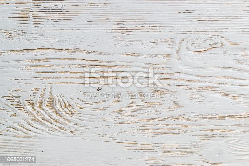 istock Shabby white painted wood texture close-up as background. 1068031274