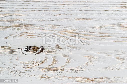 istock Shabby white painted wood texture close-up as background. 1068031382