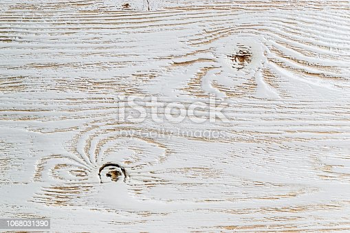 istock Shabby white painted wood texture close-up as background. 1068031390