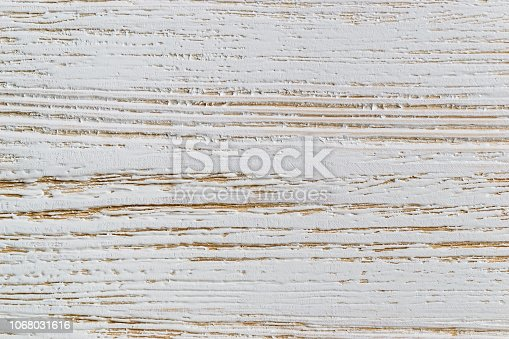 istock Shabby white painted wood texture close-up as background. 1068031616