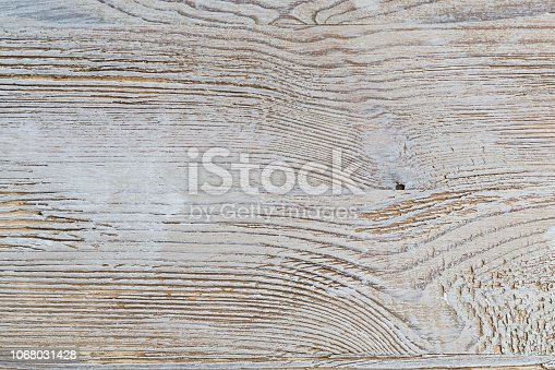 istock Shabby white rustic painted wood texture close-up as background. 1068031428