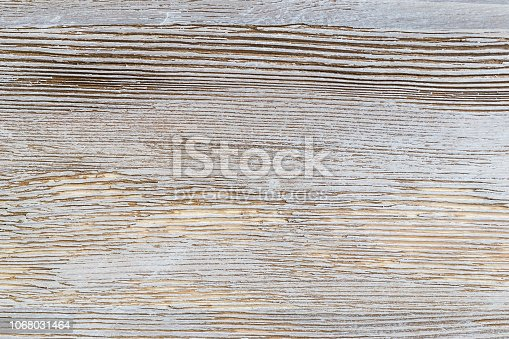 istock Shabby white rustic painted wood texture close-up as background. 1068031464