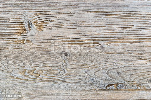 istock Shabby white rustic painted wood texture close-up as background. 1068031628