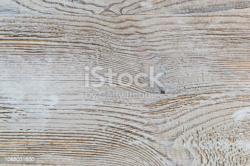 istock Shabby white rustic painted wood texture close-up as background. 1068031650