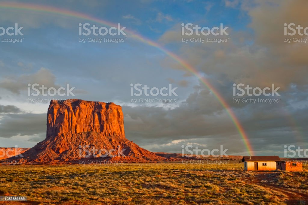 Shack at the End of a Rainbow stock photo