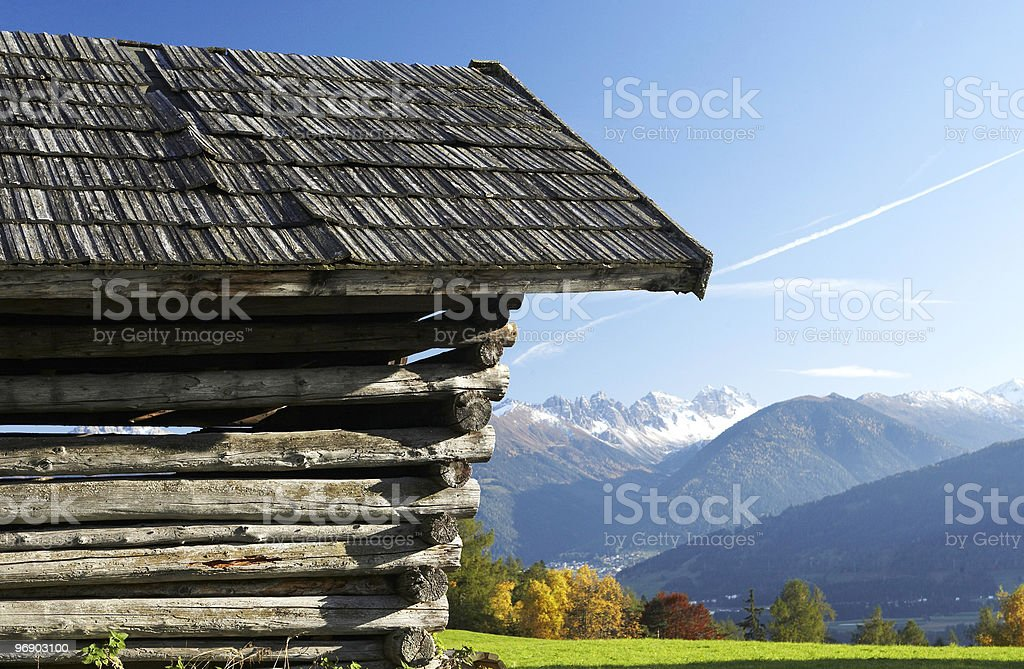 Shack In The Alps royalty-free stock photo