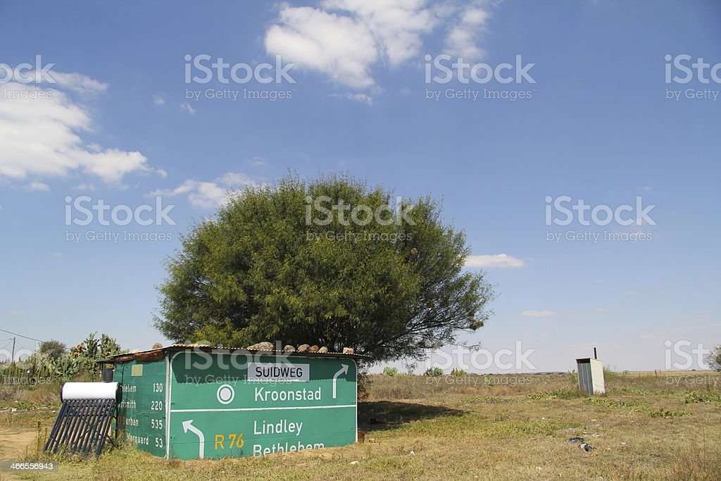Shack made out of street sign stock photo
