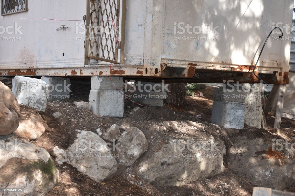 A shack with rickety foundations stock photo