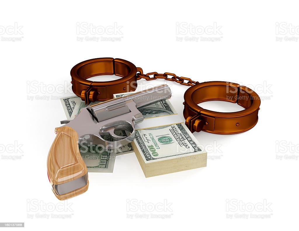 Shackles, revolver and dollar pack. royalty-free stock photo