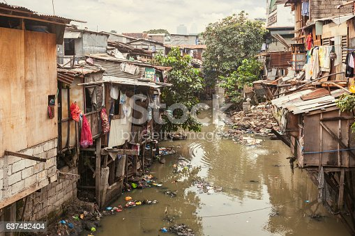 Shacks in a slum area along a small polluted canal. Manila, Philippines.