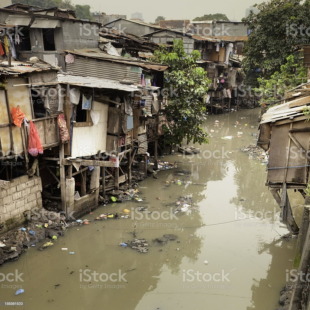 Shacks along river royalty-free stock photo