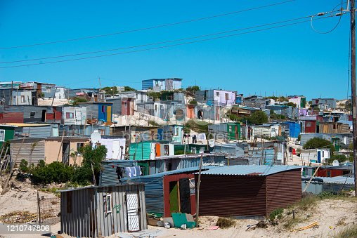 shacks in informal settlement in khayelitsha township, cape town, south africa