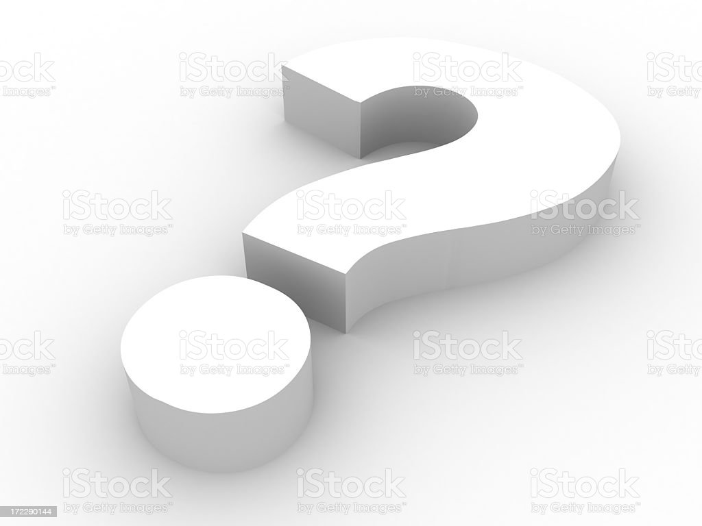 Shaded question mark symbol on a white background royalty-free stock photo