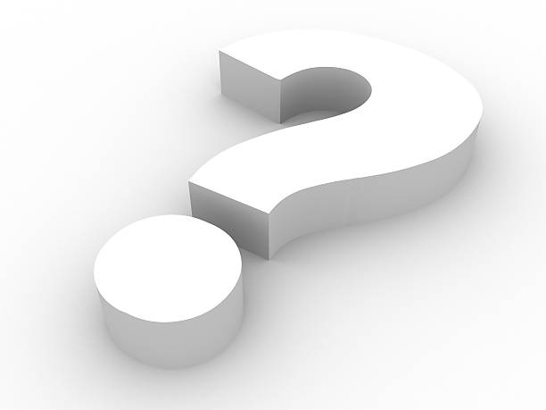 Shaded question mark symbol on a white background stock photo