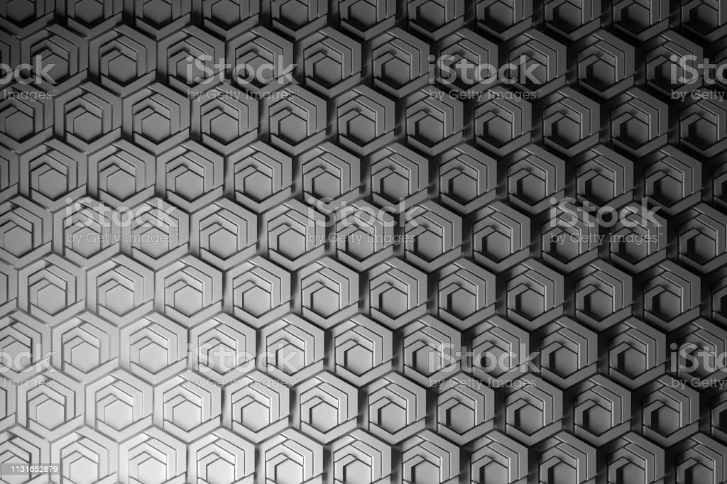 Shaded structured pattern with details of hexagons stock photo