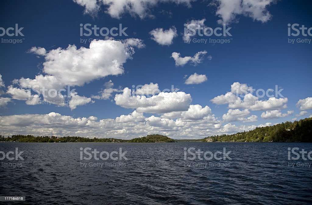 Shades of Blue on the Stockholm archipelago stock photo