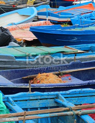 Blue Fishing Boats Background