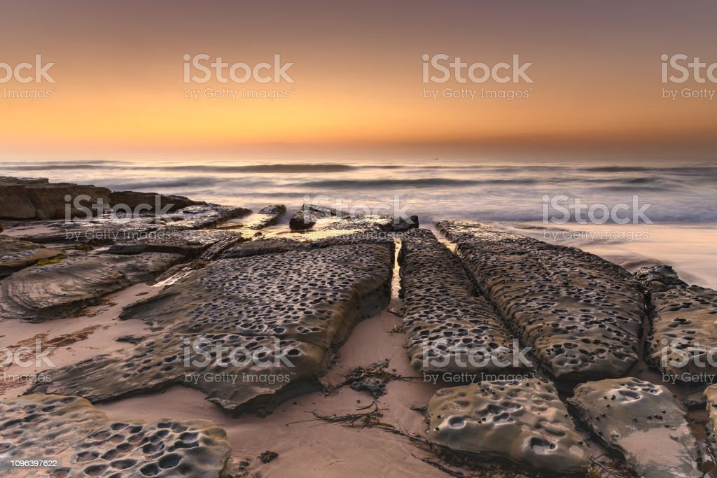 Shades of Brown Dawn Seascape stock photo