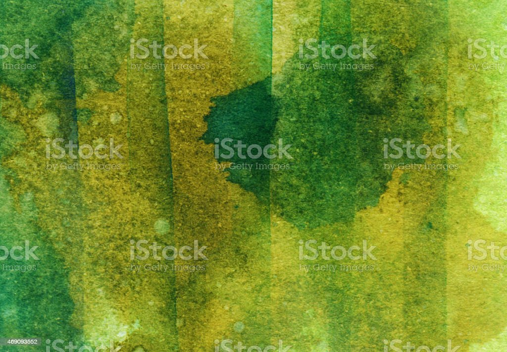 Shades of green hand painted on watercolor paper stock photo