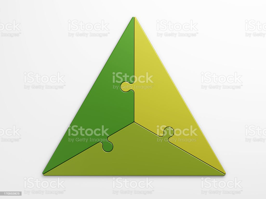 Shades of green triangular puzzle concepts stock photo