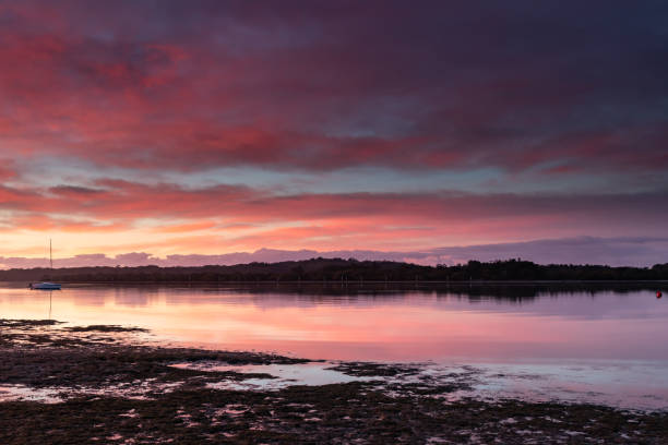 Shades of Pink - River Waterscape stock photo