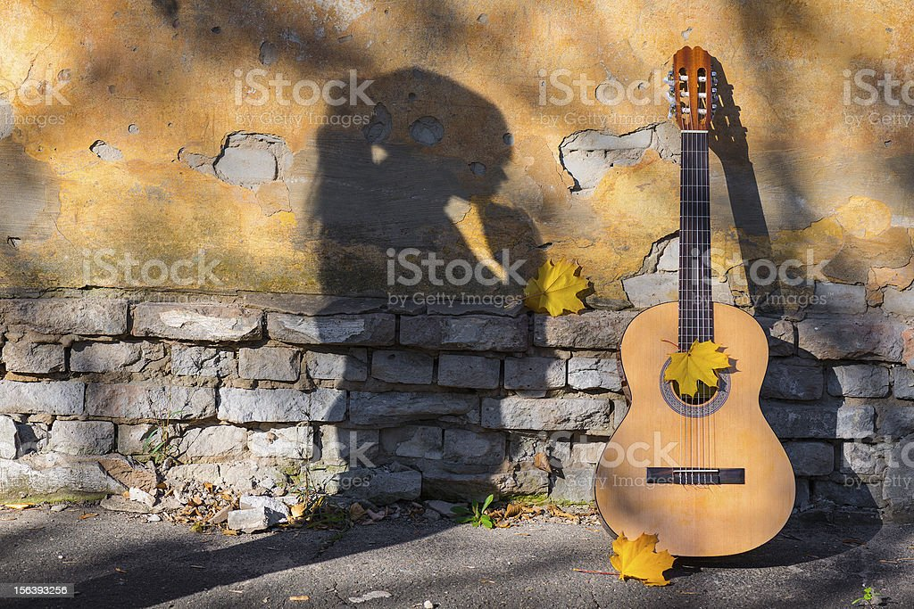 Shadow and guitar royalty-free stock photo