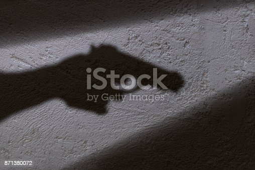 A shadow of a hand holding a gun in his hand.