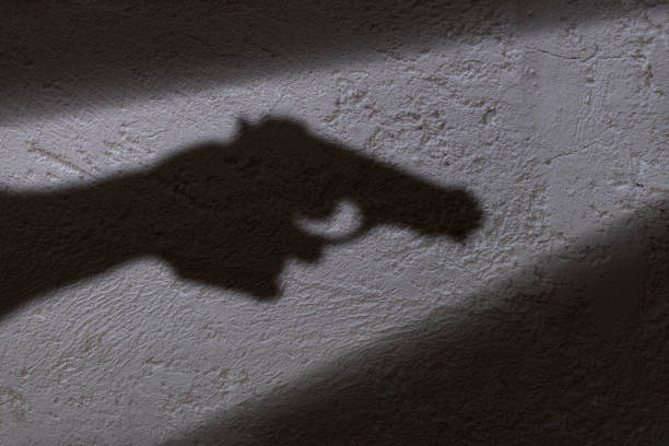 Shadow and gun A shadow of a hand holding a gun in his hand. pistol stock pictures, royalty-free photos & images