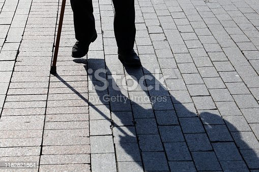 Concept of disability, old age, blind person, dramatic life