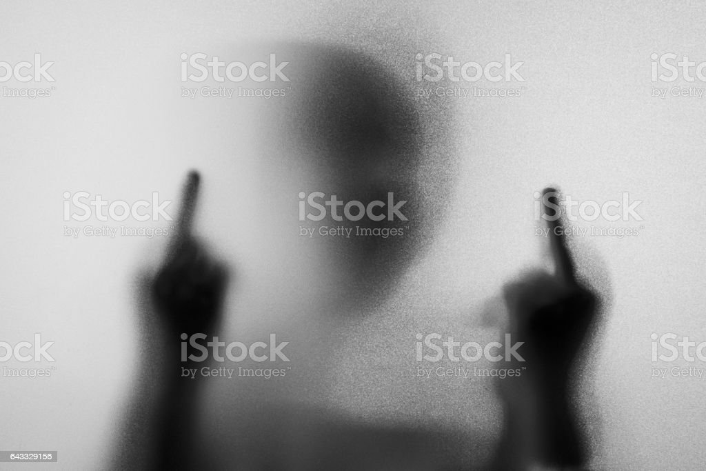 Shadow Blur Of Horror Man In Jacket With Hoodmiddle Finger Symbol